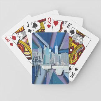 New York City Skyline | Blue 3D Playing Cards