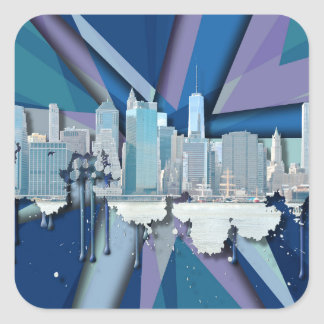 New York City Skyline   Blue 3D Square Sticker