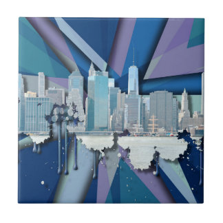 New York City Skyline | Blue 3D Tile