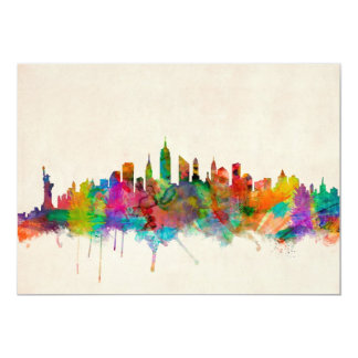 New York City Skyline Cityscape 13 Cm X 18 Cm Invitation Card