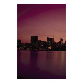 New York City Skyline Dusk Manhattan Urban City Stationery