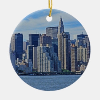 New York City Skyline From the East River A1 Ceramic Ornament