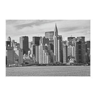 New York City Skyline From the East River B&W Canvas Print