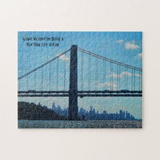 New York City skyline, George Washington Bridge Jigsaw Puzzle