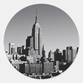 New York City Skyline in Black and White Round Sticker