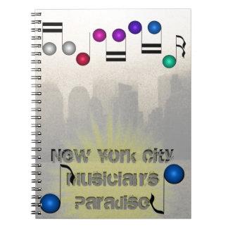 New York City Skyline NYC Music Musicians Books Spiral Notebooks