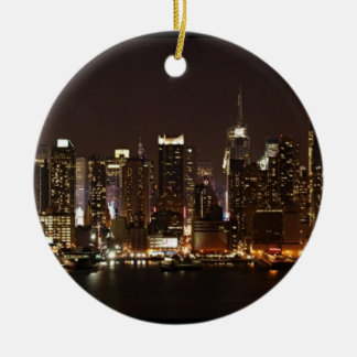 New York City Skyline Round Ceramic Ornament