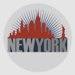 New York City Skyline Round Sticker