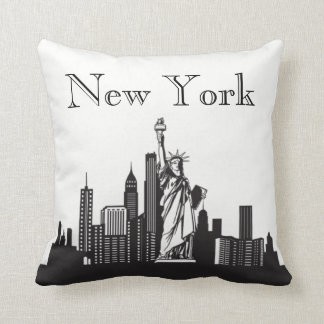 New York City Skyline Silhouette Front/ Xray Back Throw Pillow