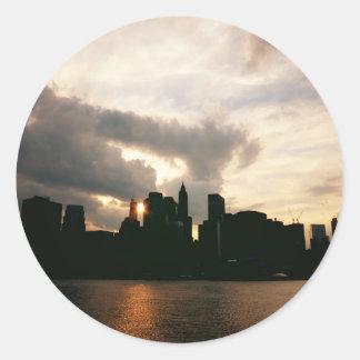 New York City Skyline Silhouette Round Sticker