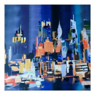 New York City Skyscrapers Abstract Perfect Poster