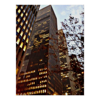 New York City Skyscrapers at Dusk Poster Print