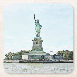 New York City - Statue of Liberty Square Paper Coaster