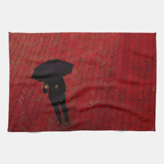 New York City Street Scene, Rainy Day Umbrella Kitchen Towel