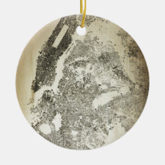 New York City Streets and Buildings Vintage Map Ceramic Ornament