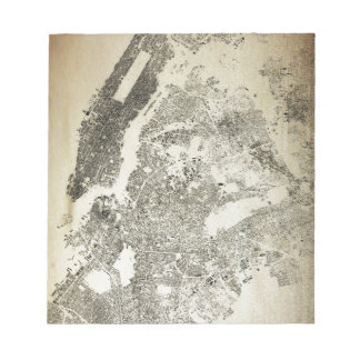 New York City Streets and Buildings Vintage Map Notepad