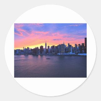 New York City Sunset Round Sticker