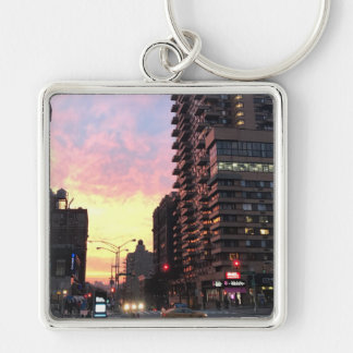 New York City Sunset Upper West Side Buildings NYC Keychain