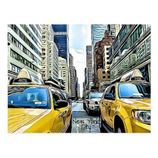 New York City Taxi Cabs & Buildings Postcard