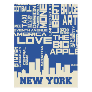New York City Typography Poster Postcard