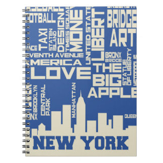 New York City Typography Poster Spiral Notebook