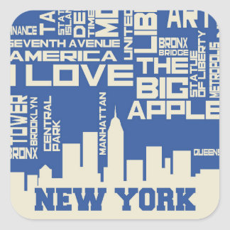 New York City Typography Poster Square Sticker
