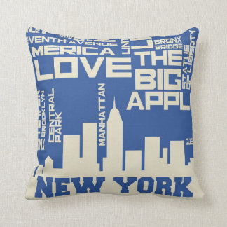 New York City Typography Poster Throw Pillow