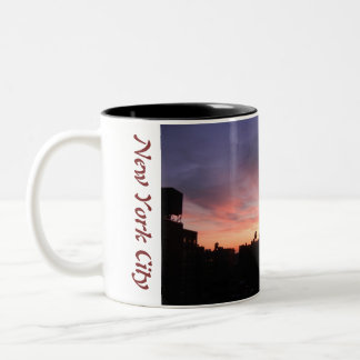 New York City Upper West Side sunset 1 Two-Tone Coffee Mug