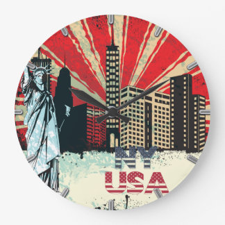 new york city usa vintage grunge clock round