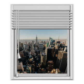 New York City View Fake Window With Blinds Poster