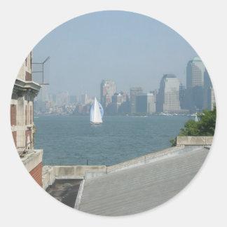 New York City View of the Bay Round Sticker