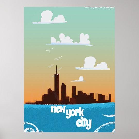 New York city vintage travel poster