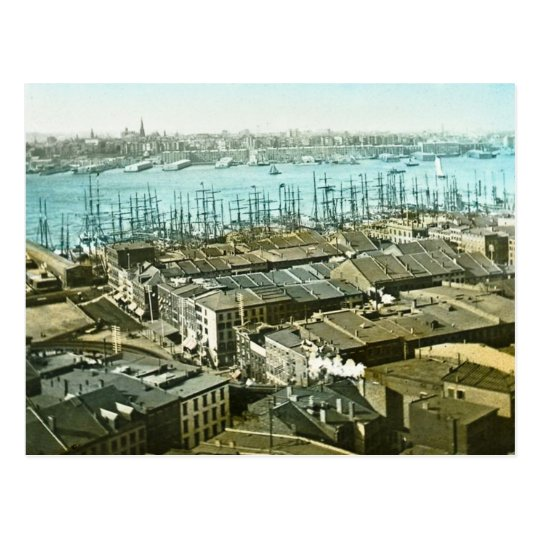 New York City Wharves 1875 Magic Lantern Slide Postcard