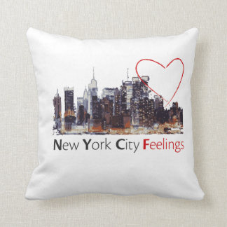 New York City White Pillow