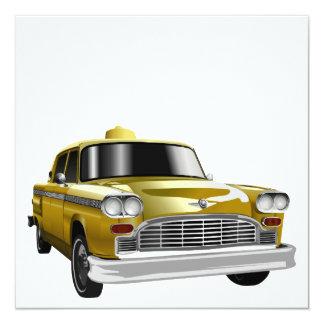 "New York City Yellow Vintage Cab 5.25"" Square Invitation Card"