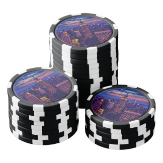 New York Cityscape at Night Poker Chips