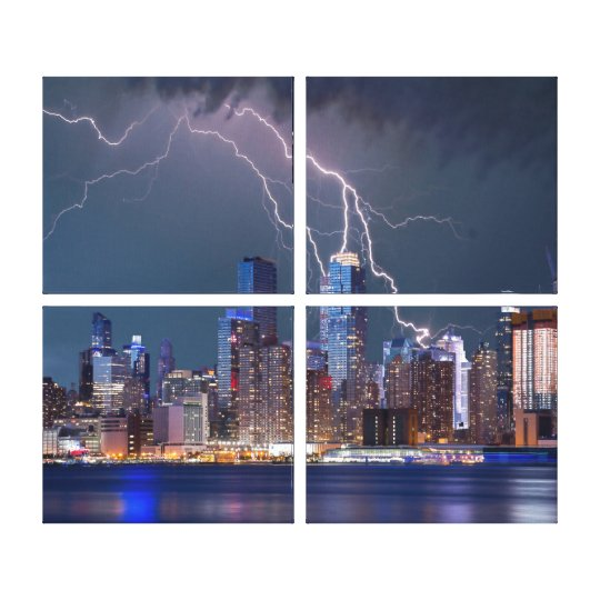 New York Cityscape at Night with Lightning Canvas Print