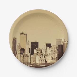 New York Cityscape Paper Plate
