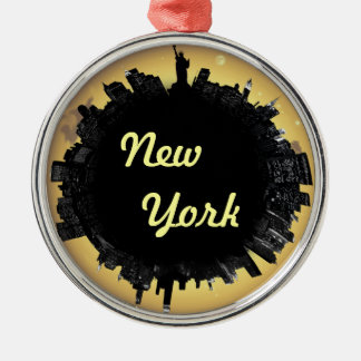 New York cityscape Silver-Colored Round Ornament