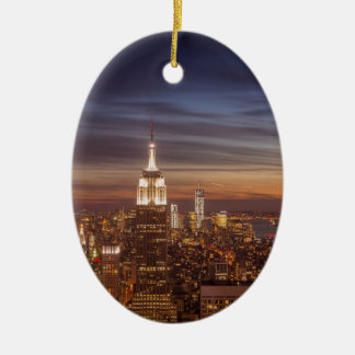 New York Cityscape Skyline - Skyscrapers at Sunset Ceramic Oval Ornament