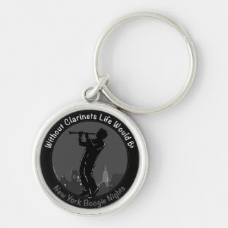 New York Clarinet Player Silver-Colored Round Keychain