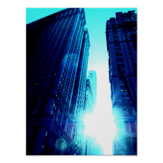 New York Color - Blue Building Poster