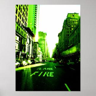 New York Color - Firelane Green Poster