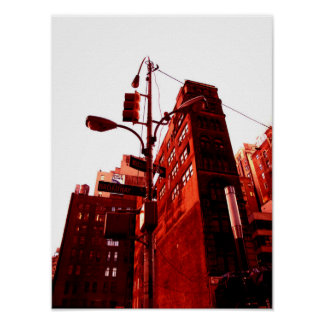 New York Color - Red Way Poster