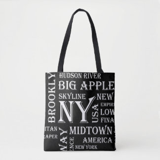 New York Custom All-Over-Print Black Tote Bag
