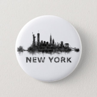 New York Dark-White Skyline v07 2 Inch Round Button