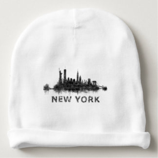 New York Dark-White Skyline v07 Baby Beanie