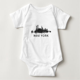 New York Dark-White Skyline v07 Baby Bodysuit