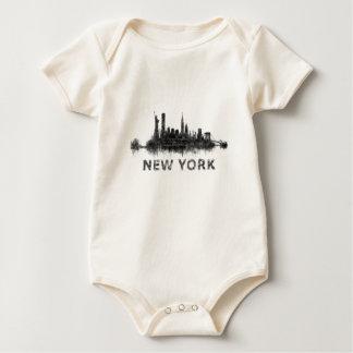 New York Dark-White Skyline v07 Baby Bodysuit