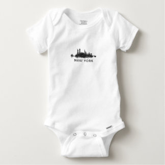 New York Dark-White Skyline v07 Baby Onesie